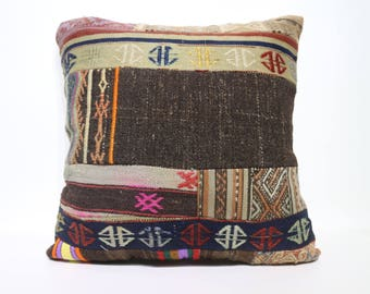 24x24 Patchwork Kilim Pillow Home Decor 24x24 Bohemian Kilim Pillow Floor Kilim Pillow Ethnic Pillow Anatolian Cushion Cover SP6060-1424