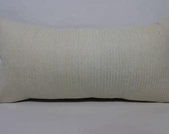 Handwoven Kilim Pillow Boho Pillow Ethnic Pillow 12x24 Lumbar White Kilim Pillow Boho Pillow Decorative Kilim Pillow Cushion SP3060-1281