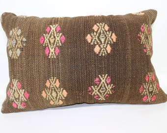 Brown Kilim Pillow Embroidered Multicolor Kilim Pillow 16x24 Bohemian Kilim Pillow Decorative Kilim Pillow Lumbar Pillow  SP4060-820