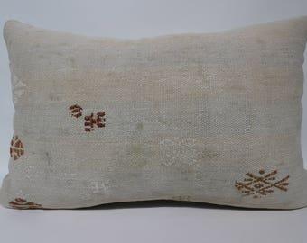 16x24 White Kilim Pillow Lumbar Kilim Pilim Turkish Kilim Pillow Berdoom Kilim Pillow SP4060-1133
