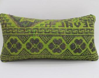 pillow cover green pillow anatoilan pillow tribal 10x20 turkish pillows lumbar cushion cover vintage kilim pillows throw pillows SP2550-1662