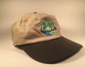 """Tan and Black """"Asia Pacific"""" Globe Embroidered Hat"""