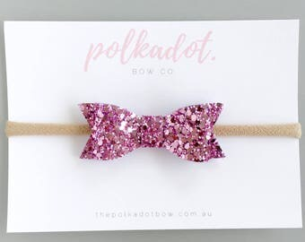 Baby Headbands | Toddler Headbands | Glitter Baby Headband | Baby Headband | Glitter Baby Bows | Purple/Pink Baby Headband | Glitter Bow