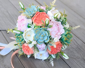 Peony Wedding Bouquet Clay Flowers Succulent Bridal Alternative Keepsake Bridesmaids Pink Peach Coral