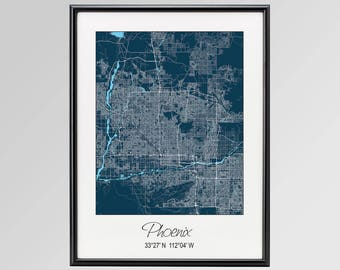 Phoenix Arizona Map, Phoenix City Map Print, Phoenix Map Poster, Phoenix Wall Art, Phoenix gift, Custom city, Personalized Arizona map