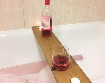wooden bath caddy, bath shelf, wine caddy,  glass holder. Gift. Bath bridge