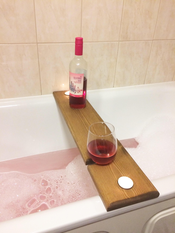wooden bath caddy, bath shelf, wine caddy, glass holder. Gift. Bath ...