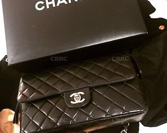 chanel vintage black silver cf backapck like new