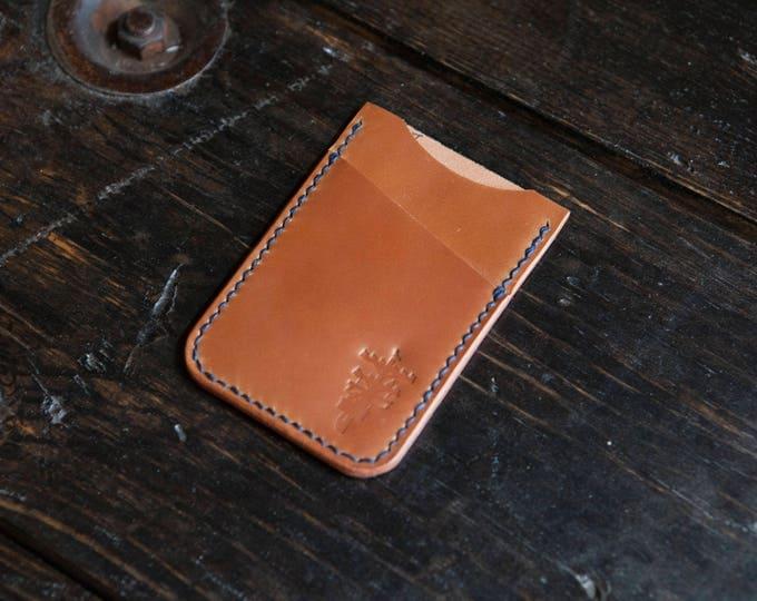 Whiskey Shell Cordovan Minimalist Card Wallet Handstitched with Indigo Thread