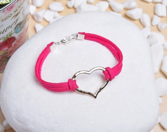 Hand Crafted Faux Suede Bracelet with Silver Love Charm - Valentine Gift Idea Jewelry