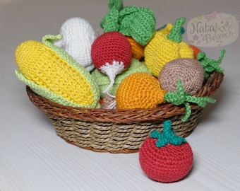 Crochet vegetables Eco-friendly Amigurumi vegetables A tomato Play food  Soft toy Crochet Fake Cotton Educational toy Toddler gift Baby toy