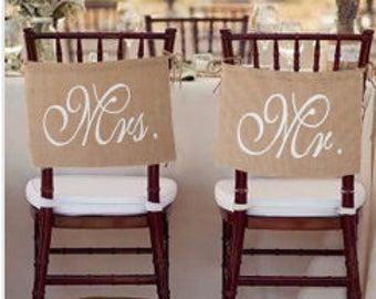 Mr. & Mrs. burlap chair banner
