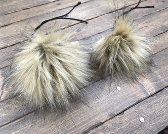 Faux Fur Poms in Toasted Marshmallow- Two sizes