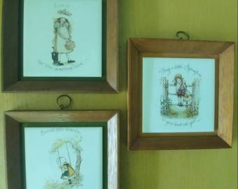 Vintage SET OF 3 Holly Hobbie 1973 framed pictures