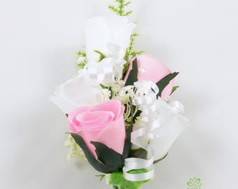 Artificial Wedding Flowers, Baby Pink & White Rose Wrist Corsage