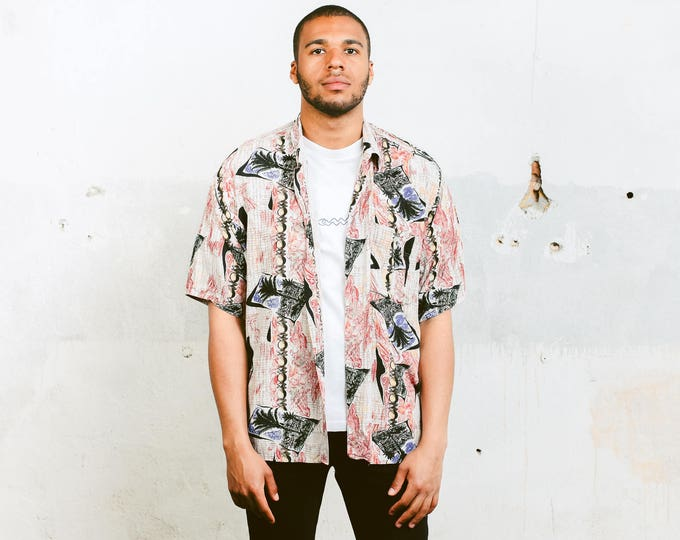 Patterned Summer Top . 90s Summer Party Shirt Vintage 90s Mens Top Short Sleeve Holiday Shirt Vacation Shirt Adventure Shirt  . size XL