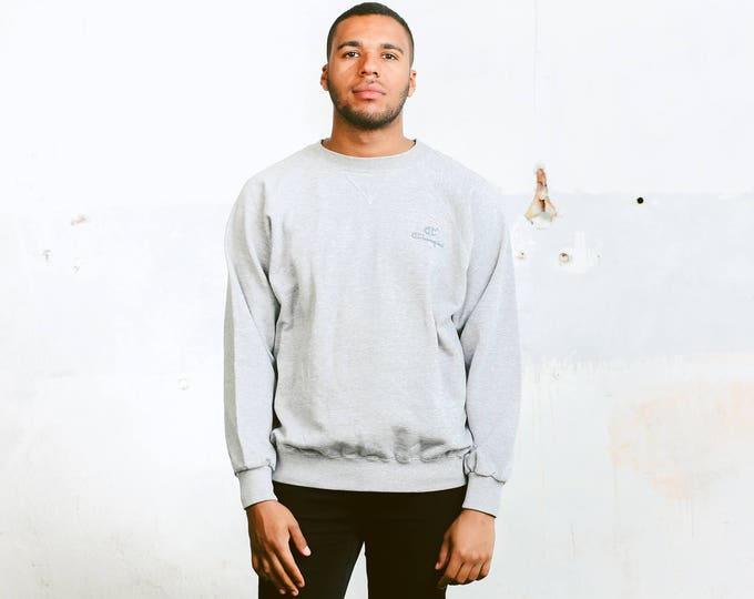 Men's Champion Sweatshirt . 80s Mens Grey Sweatshirt Vintage Champion Logo Pullover Minimalist Top Sportswear Boyfriend Gift . size Large L