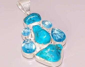E2 Tibetan Turquoise London Blue Topaz Beautiful Handmade Design .925 Sterling Silver Plated Jewelry Pendant