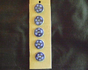 South African Hand-Painted Ceramic and Clay Buttons - Blue Design