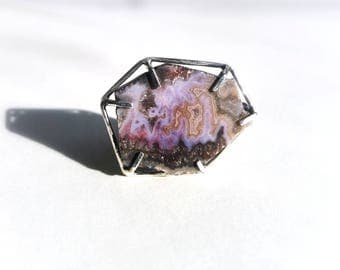 Purple Stone Ring - Agate, Sterling Silver - Size 7