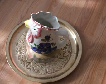FRIUL Italian Hand Painted Rooster Water Vessel