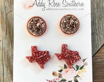 12mm druzy and Texas earrings, Texas earrings, druzy studs, druzy earrings, mint druzy