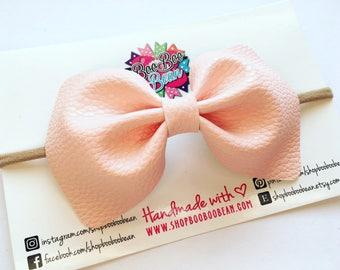 Peach Faux Leather Bow, Peach Baby Bow, Baby Bow Headband, Faux Leather Bows, Faux Leather Hair Bow, Peach Baby Headband, Baby Shower Gift