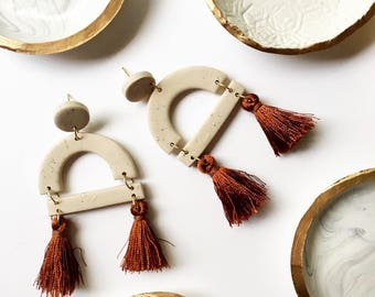 The Camille Earring // Polymer clay tassel earring, statement earrings, dangly earrings