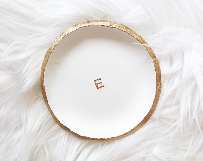 Featured listing image: MINIMALIST MONOGRAM // Clay Ring Dish, Trinket Dish, Jewelry Dish, Personalized Gift Idea