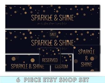 Etsy shop set - Etsy banner set - Sparkly Etsy banner - Etsy cover image - Etsy logo - Etsy shop avatar - Feminine Etsy Set