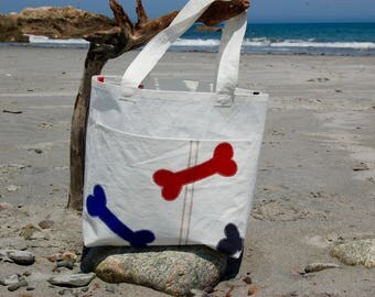 Dog Bone Bag- Small Recycled Sail Bag - Every Day Tote