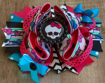 Monster Girls Inspired Boutique Bow Layered Boutique Bow Stacked Hair Clip Girls Boutique Bow