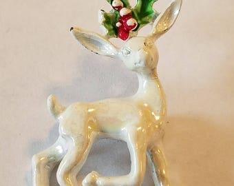 Vintage Gerry White Reindeer Pin,  White Reindeer Pin, Reindeer Pin