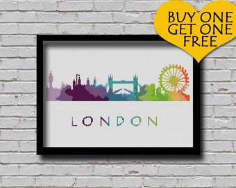 Cross Stitch Pattern London England Europe City Silhouette Watercolor Painting Effect Decor Embroidery Rainbow Color Skyline xstitch