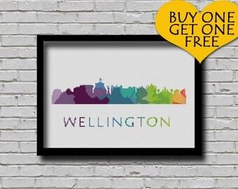 Cross Stitch Pattern Wellington City New Zealand Silhouette Rainbow Watercolor Effect Modern Decor Embroidery City Skyline Xstitch