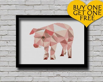 Cross Stitch Pattern Polygonal Piglet Farm Animal Pattern Modern Home Decor Geometric Pig E Pattern Triangle Cross Stitch Pattern