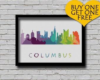 Cross Stitch Pattern Columbus Ohio Silhouette Watercolor Effect Decor Embroidery Modern Ornament Usa City Skyline xstitch Diy Chart