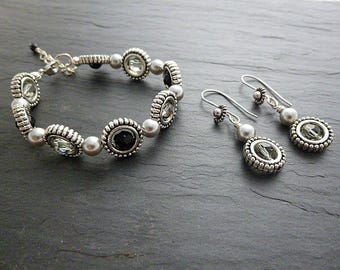 Set bracelet and earrings silver/gray