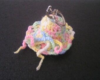 Hand crocheted wool hat keychain