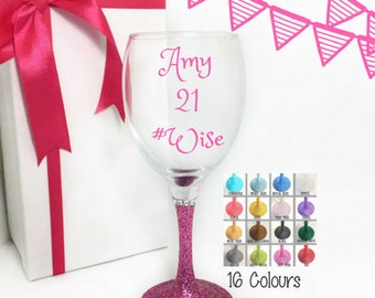 21st birthday for a girl, 21st birthday gift for her, 21st birthday wine glass, birthday gift for best friend, wine glasses personalised,