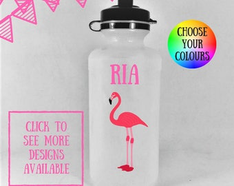 Personalized kids water bottles, flamingo water bottle kids, personalized water bottle, personalized drink bottle, kids water bottle,