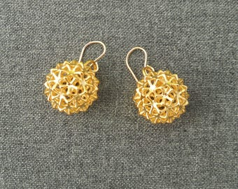 Snow Ball - 18KT Gold Plated Brass Earrings | 3D Printed Jewelry | 3D Printed Earrings