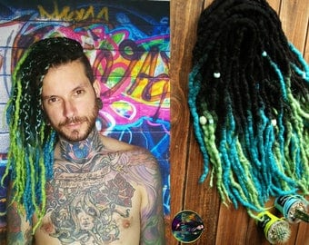 Wool wavy ombre double ended dreadlocks DE curly dreads black green blue felt material
