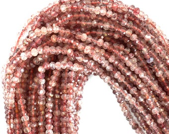 "4mm faceted strawberry quartz rondelle beads 16"" strand 39309"