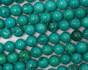 """8mm green turquoise round beads 15.5"""" strand 38626"""