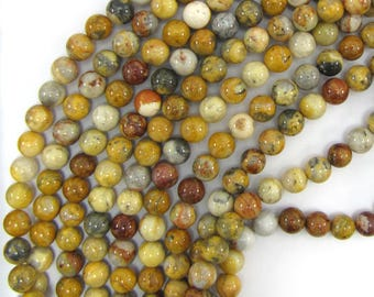 "8mm natural crazy lace agate round beads 15.5"" strand 13558"