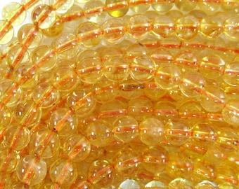 """6mm citrine round beads 15.5"""" strand 34661"""