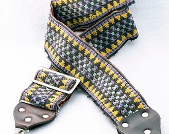 """Shabby Chic Brown, Purple, and Yellow Geometric Camera Strap, 43"""" Long, 2"""" Wide for Canon, Nikon, Pentax, Sony, or Others"""