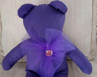 Purple Linen Bear, Homemade Bear, Teddy Bear, Decorator Bear