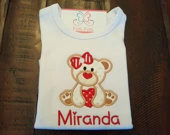 Girl Shirt with Bear & Heart personalized with Name, CHD Shirt, Valentines day Shirt / Hearts